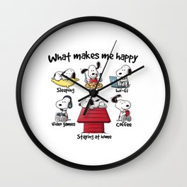 What makes me happy Snoopy Christmas Wall Clock