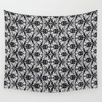 damask Wall Tapestries featuring Black Damask  by Elena Indolfi