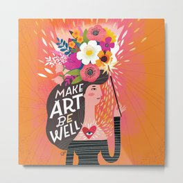 Work From Home Happys- Make Art Be Well Metal Print