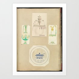 Designs for Two Ewers, a Carafe (two alternate designs), and a Covered Tureen Art Print