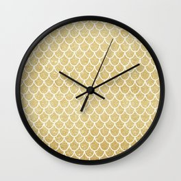 Mermaid Tail Pattern  |  Gold Glitter Wall Clock