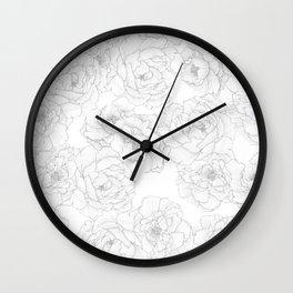 Peony Flower Pattern Wall Clock