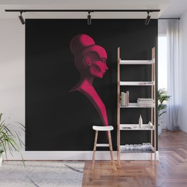 Red Cameo Wall Mural
