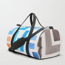 Colorful Blue Orange Aztec Interlocking Geometric Pattern Watercolor Painting Duffle Bag