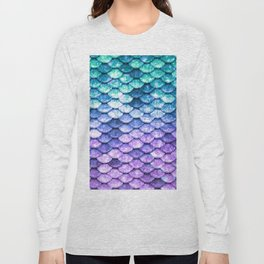 Mermaid Ombre Sparkle Teal Blue Purple Long Sleeve T-shirt