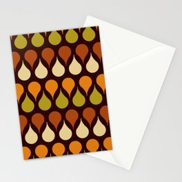 60s, retro pattern, Brown drops, yellow drops, geometric, vintage, drop pattern Stationery Cards