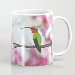 ruby throated hummingbird - male on pink bokeh Coffee Mug