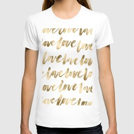 Gold Love Quote Pattern Typography Script T-shirt