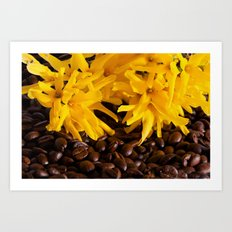 Coffee and flowers Art Print