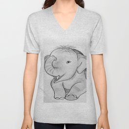 Happy baby elephant Unisex V-Neck