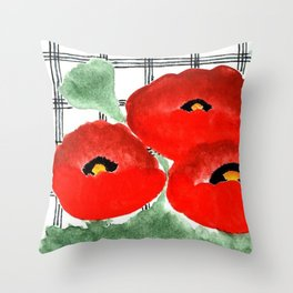 Poppies and Plaid Throw Pillow