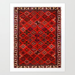 -A30- Red Epic Traditional Moroccan Carpet Design. Art Print