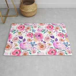 Lilac pink lavender hand painted watercolor roses floral Rug