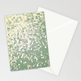 Yellow and Sage Green Mosaic Pattern Stationery Cards