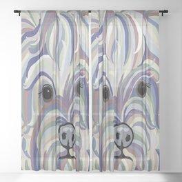 Yorkie Denim Colors Sheer Curtain