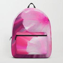 Pink White Flower Art Backpack