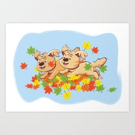 Happiness is a Big Pile of Leaves! Art Print