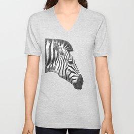 Black and White Zebra Profile Unisex V-Neck