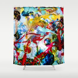 desolidify — break habits — abstract art — experimental Shower Curtain