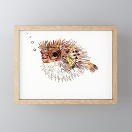 Little cute Fish, Puffer fish, cut fish art, coral aquarium fish Framed Mini Art Print