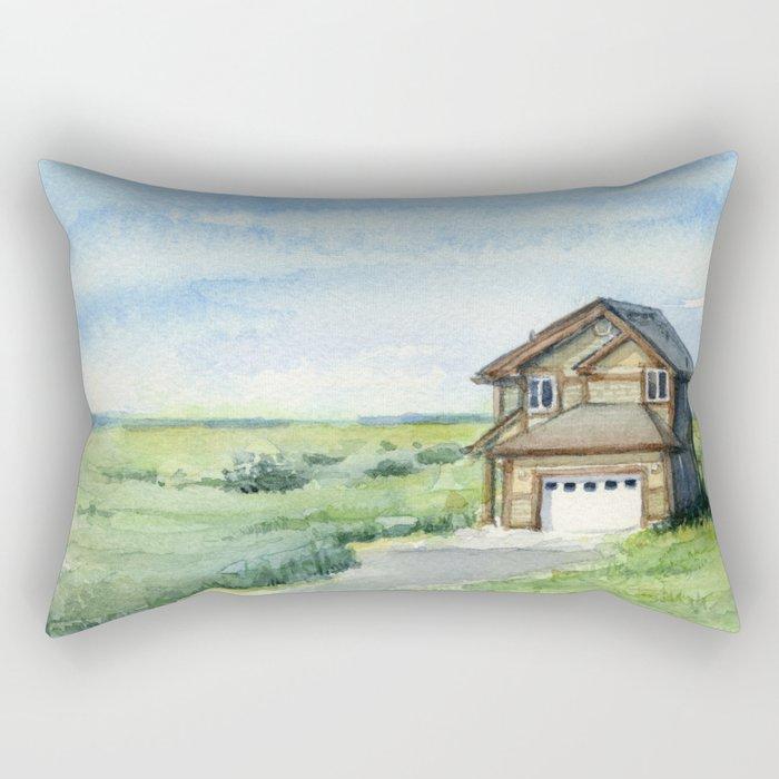 Beach House Landscape Watercolor | Long Beach, WA Rectangular Pillow