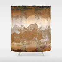 asian Shower Curtains featuring Asian background by dominiquelandau
