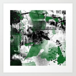 Abstract Black & Green Art Print