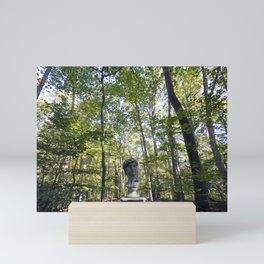 Roman Statue Bust in a Forest Mini Art Print