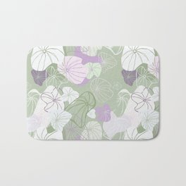 Large Abstract Dandelion Seeds Repeating Pattern on Green Bath Mat