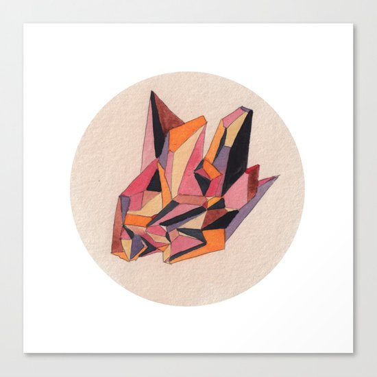 Warm Geometric Watercolour Canvas Print