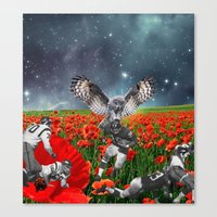 49ers Canvas Prints featuring Owl my god by Kiki collagist