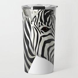 a zebra head portrait Travel Mug