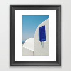 Santorini Blue & White Window Framed Art Print