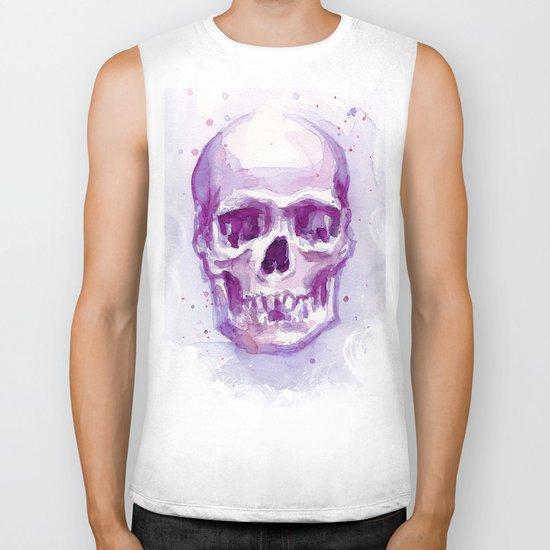 Pink Skull Watercolor Purple Abstract Biker Tank