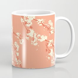 Cherry Blossoms in Coral Coffee Mug