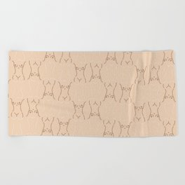 Nude, nudes line drawing/ pattern of female body Beach Towel