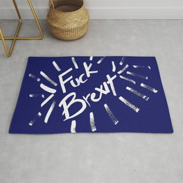 Fuck Brexit White & Blue Rug