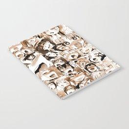Ahegao Hentai Girls Anime Manga Collage Sepia Tinted Notebook