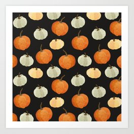 Orange yellow gray black watercolor pumpkin pattern Art Print