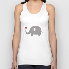 Elephants in love (white) Unisex Tank Top
