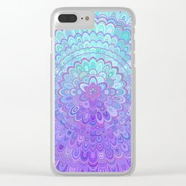 Mandala Flower in Light Blue and Purple Clear iPhone Case