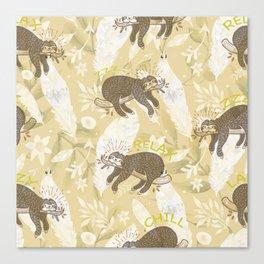 Lazy Boho Sloth On Yellow Background Canvas Print