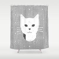 stripe Shower Curtains featuring Stripe Kitty by omgcatz