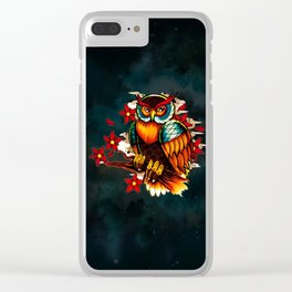 FLOWERS AND OWL Clear iPhone Case