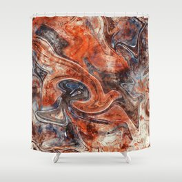 Orange marble watercolor Shower Curtain