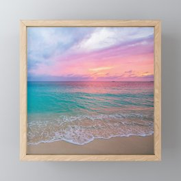 Aerial Photography Beautiful: Turquoise Sunset Relaxing, Peaceful, Coastal Seashore Framed Mini Art Print