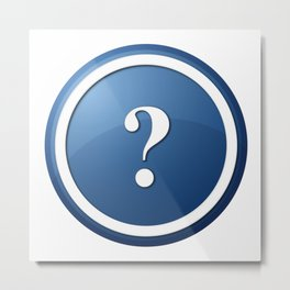 Blue Question Mark Round Button Metal Print