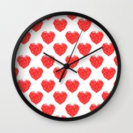 Valentines day red heart pattern geometric hearts cute gift for valentines day Wall Clock