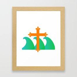 Religious Preach at the Beach Framed Art Print