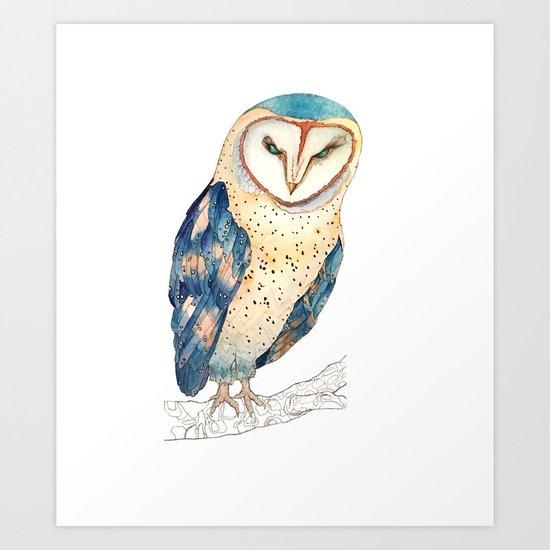 The colourful barn owl Art Print